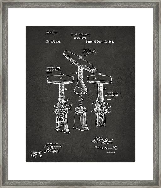 1883 Wine Corckscrew Patent Artwork - Gray Framed Print