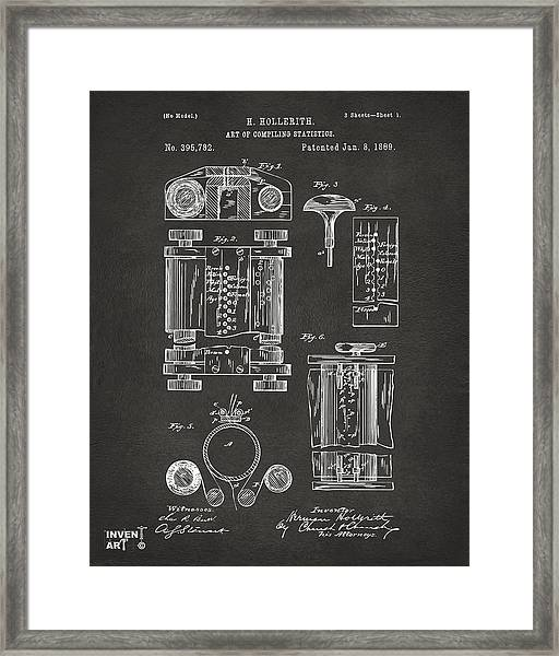 1889 First Computer Patent Gray Framed Print