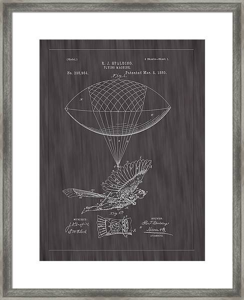 1889 Spalding Flying Machine Patent Art-black Woodgrain Framed Print