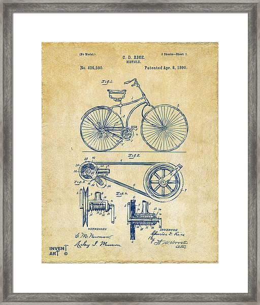 1890 Bicycle Patent Artwork - Vintage Framed Print