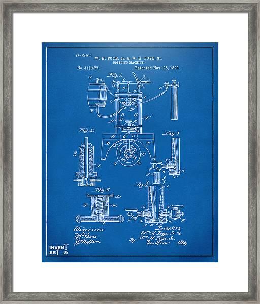 1890 Bottling Machine Patent Artwork Blueprint Framed Print