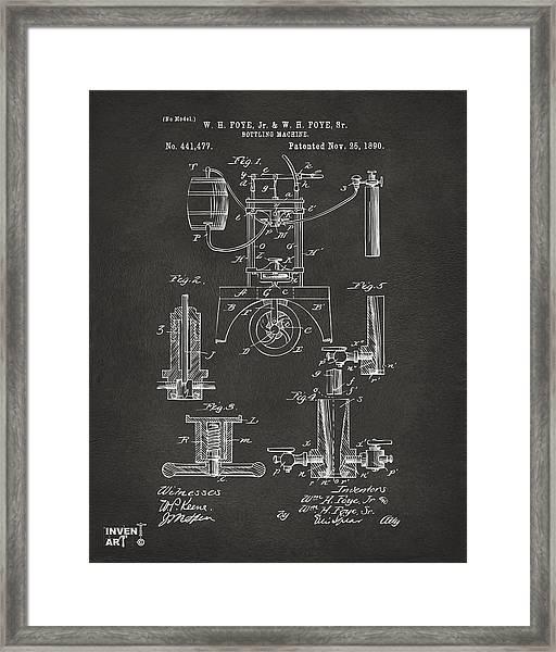 1890 Bottling Machine Patent Artwork Gray Framed Print