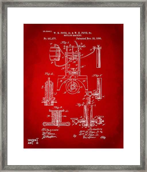 1890 Bottling Machine Patent Artwork Red Framed Print