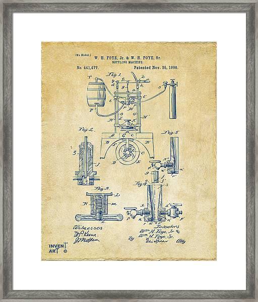 1890 Bottling Machine Patent Artwork Vintage Framed Print