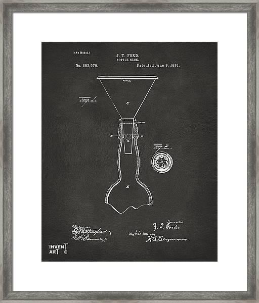 1891 Bottle Neck Patent Artwork Gray Framed Print