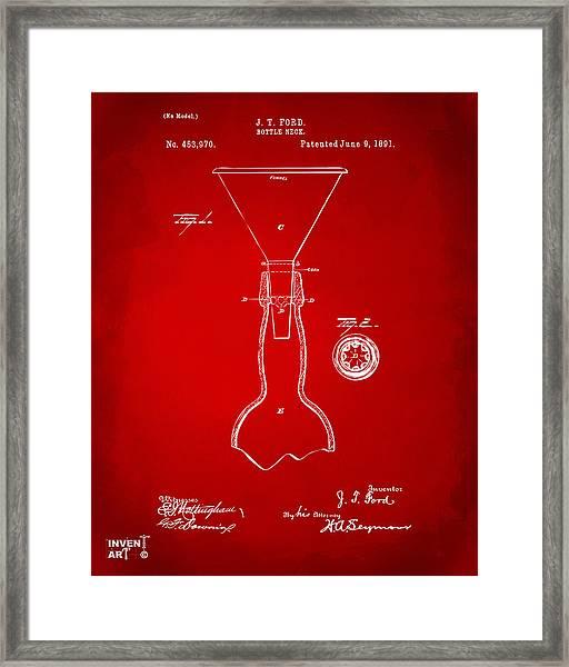 1891 Bottle Neck Patent Artwork Red Framed Print