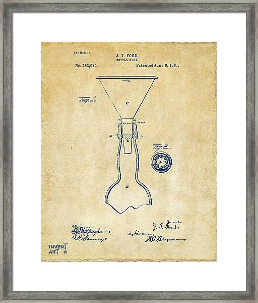 1891 Bottle Neck Patent Artwork Vintage Framed Print