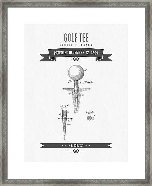 1899 Golf Tee Patent Drawing - Retro Gray Framed Print