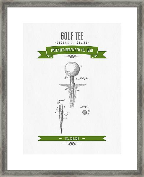 1899 Golf Tee Patent Drawing - Retro Green Framed Print