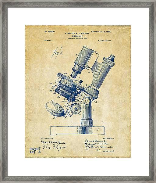 1899 Microscope Patent Vintage Framed Print