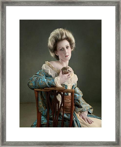 18th Century Lady Holding Hedgehog Framed Print