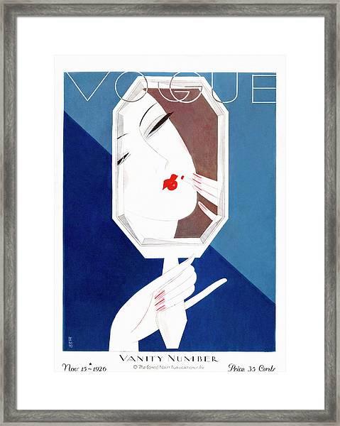 A Vintage Vogue Magazine Cover Of A Woman Framed Print by Eduardo Garcia Benito