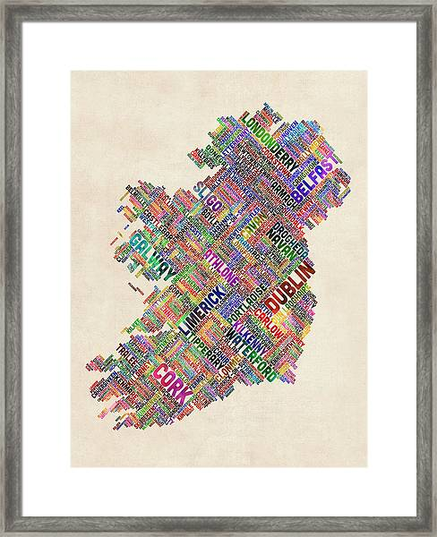 Ireland Eire City Text Map Framed Print