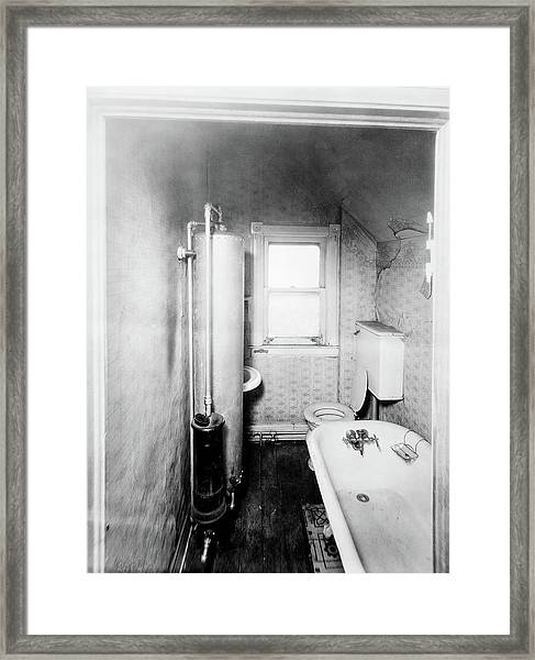 1900s Gas Water Heater In Narrow Framed Print