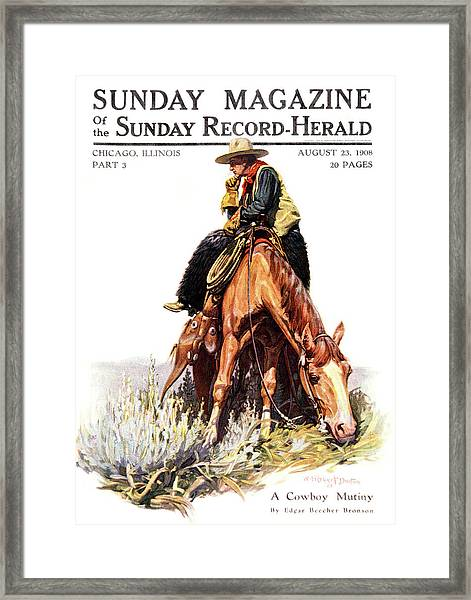 1900s Sunday Magazine Cover Lone Cowboy Framed Print