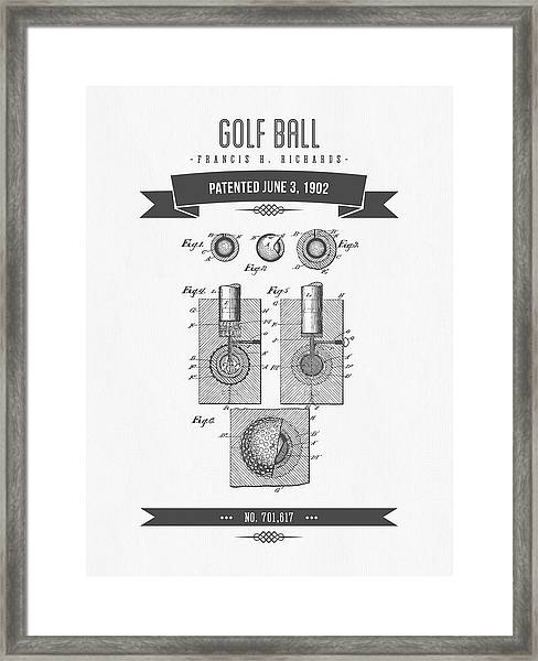 1902 Golf Ball Patent Drawing - Retro Gray Framed Print