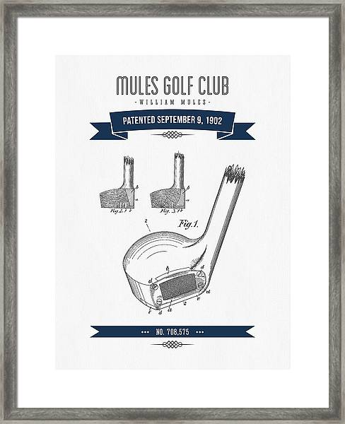 1902 Mules Golf Club Patent Drawing - Retro Navy Blue Framed Print