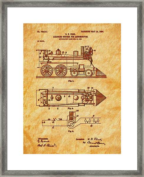1904 Locomotive Patent Art-2 Framed Print
