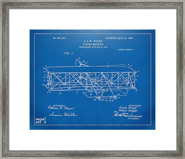 1906 Wright Brothers Flying Machine Patent Blueprint Framed Print