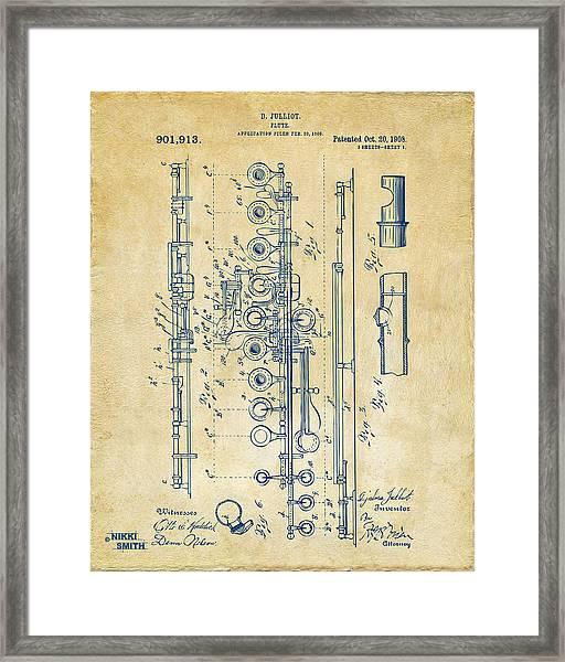1908 Flute Patent - Vintage Framed Print