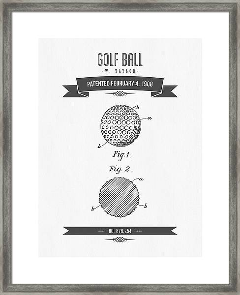 1908 Taylor Golf Ball Patent Drawing - Retro Gray Framed Print