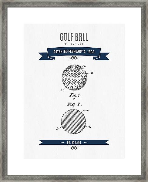 1908 Taylor Golf Ball Patent Drawing - Retro Navy Blue Framed Print