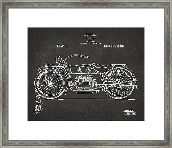 1919 Motorcycle Patent Artwork - Gray Framed Print