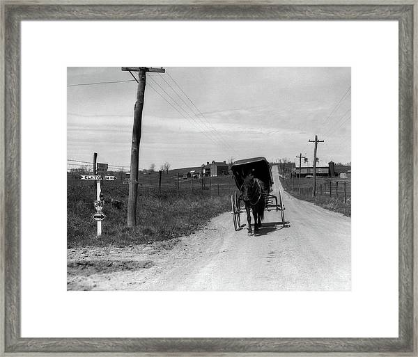1920s 1930s Amish Man Driving Buggy Framed Print