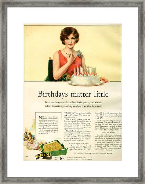 1920s Uk Palmolive Magazine Advert Framed Print