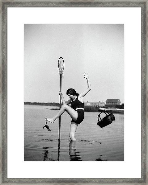1920s Woman Crabbing Surprised By Crab Framed Print
