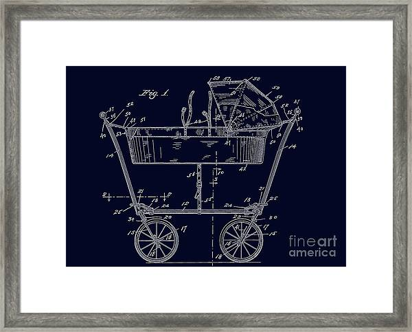 1922 Baby Carriage Patent Art Blueprint Framed Print