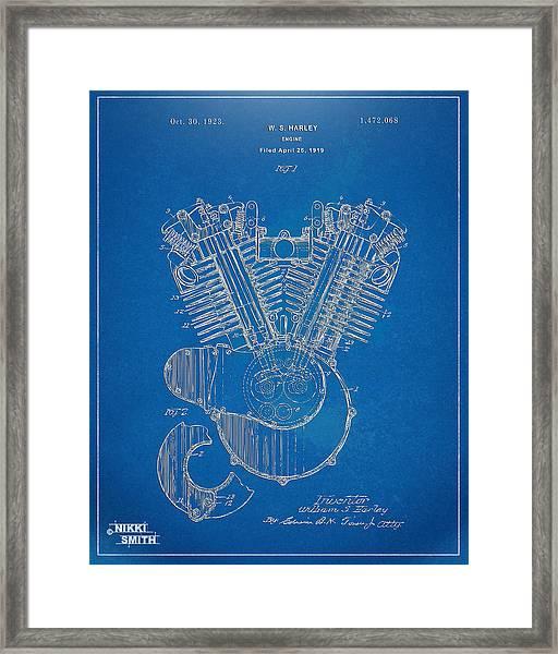 1923 Harley Davidson Engine Patent Artwork - Blueprint Framed Print