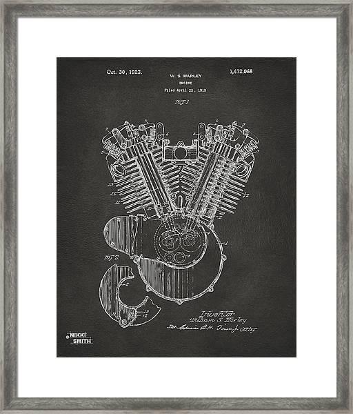 1923 Harley Engine Patent Art - Gray Framed Print