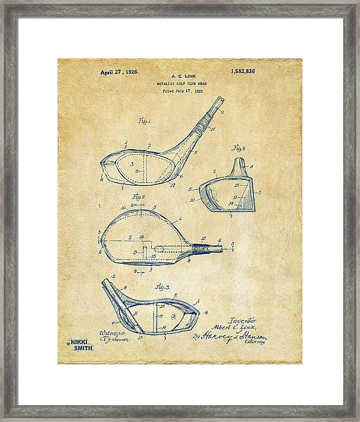 1926 Golf Club Patent Artwork - Vintage Framed Print