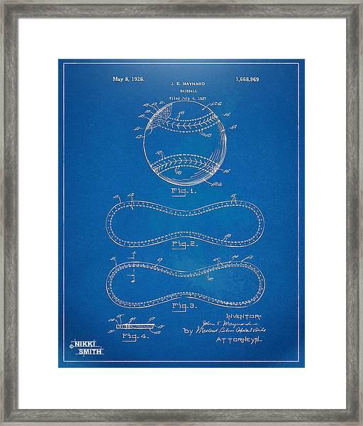 1928 Baseball Patent Artwork - Blueprint Framed Print