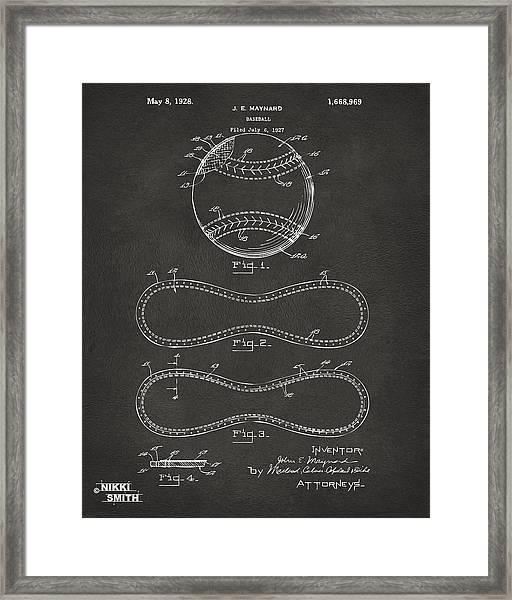 1928 Baseball Patent Artwork - Gray Framed Print