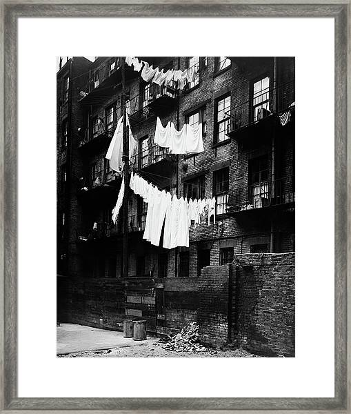 1930s Tenement Building With Laundry Framed Print