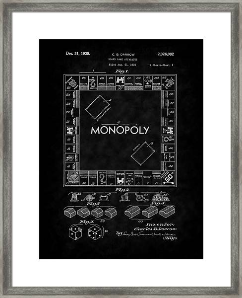 1935 Monopoly Board Game Patent-bk Framed Print