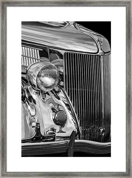 1936 Ford Stainless Steel Grille -0376bw Framed Print