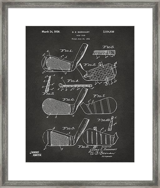 1936 Golf Club Patent Artwork - Gray Framed Print