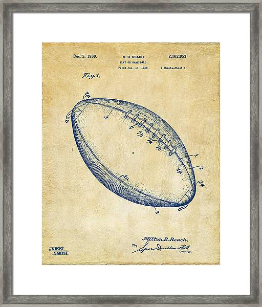 1939 Football Patent Artwork - Vintage Framed Print