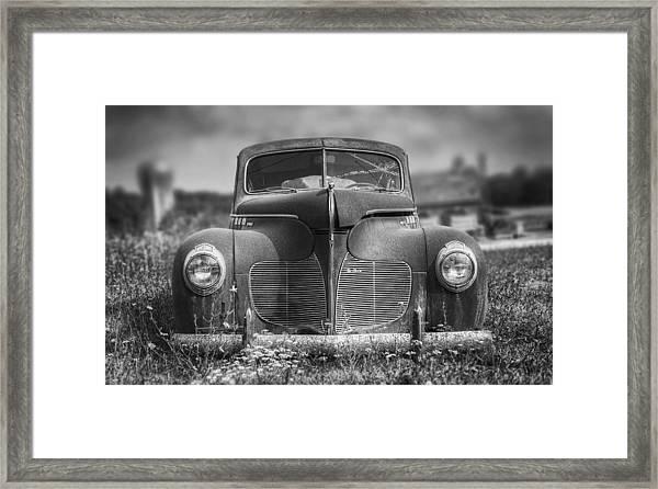 1940 Desoto Deluxe Black And White Framed Print