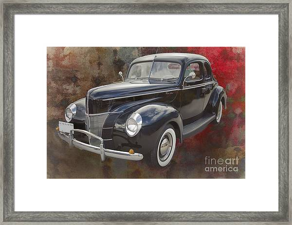 1940 Ford Deluxe Photograph Of Classic Car Painting In Color 319 Framed Print