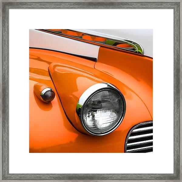 1940 Orange And White Chevrolet Sedan Square Framed Print