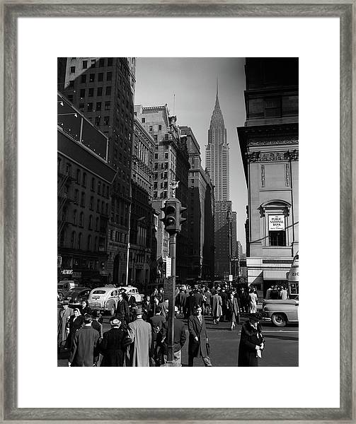 1940s Anonymous Pedestrian Crowd Taxis Framed Print