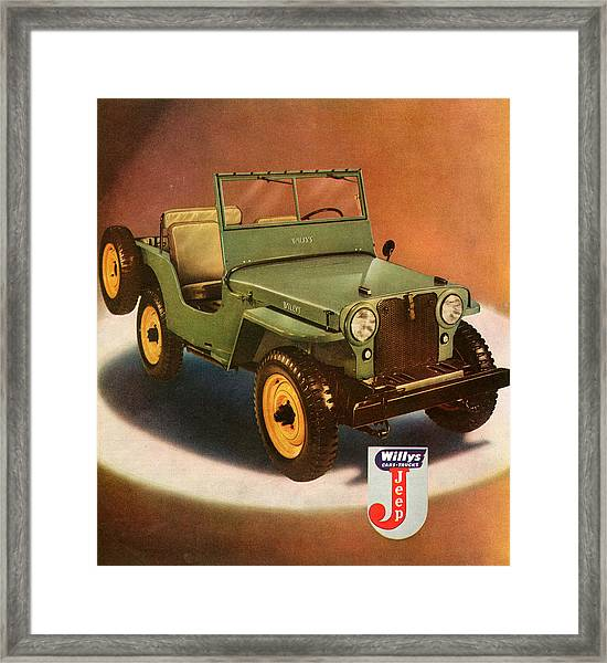 1940s Usa Willys Magazine Advert Detail Framed Print