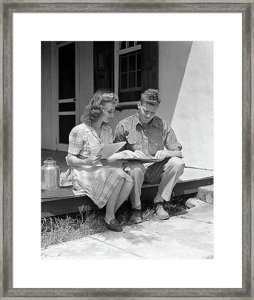 1940s Young Couple Man Woman Sitting Framed Print