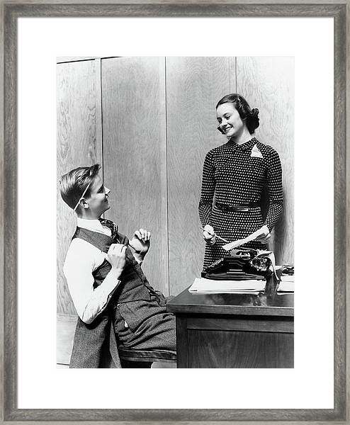1940s Young Teenage Couple Boy At Desk Framed Print
