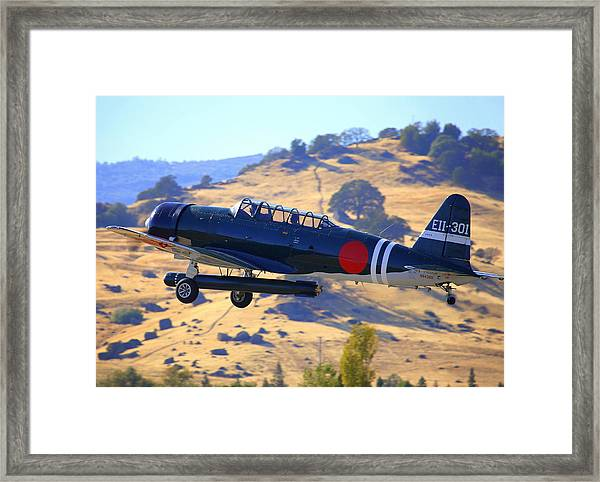 1944 Snj-5c Japanese Zero Mock-up With Torpedo Climbing Out N6438d Framed Print by John King