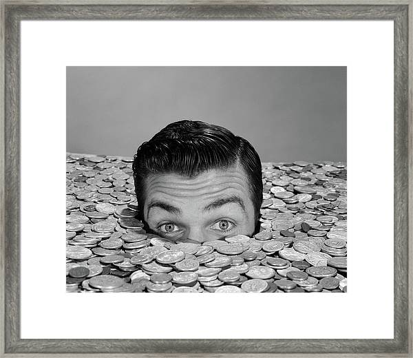 1950s 1960s Funny Man Buried Up To Eyes Framed Print